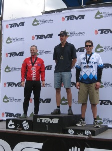 Charlie Knoll on the Teva Games podium for the Vail Pass TT!