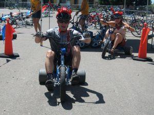 Ben rocking the big wheel!