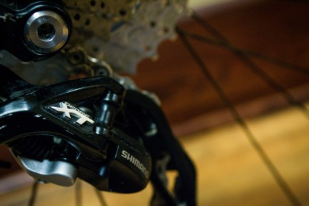 A Shimano XT rear derailleur keeps shifts quick and exact.